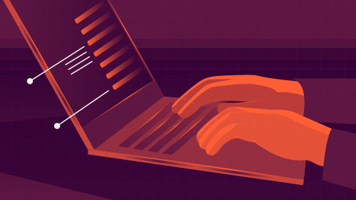 Programming at a browser, orange hands